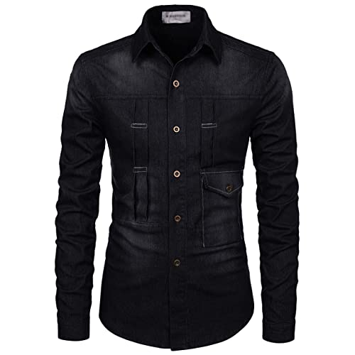9caa920906 TheLees Slim Chest Two Pocket Vintage Washing Denim Long Sleeve Stretchy  Shirts
