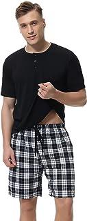 Pijama Hombre Corto Conjunto,Verano Camiseta y Pantalones Algodón Ropa de Dormir Set Cómodo y Suave Talla S-XXL