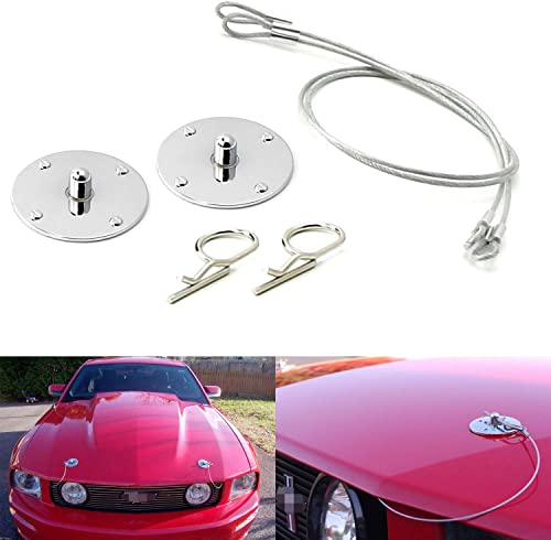 iJDMTOY Set of Classic Design 2.5-Inch Chrome Billet Aluminum Hood Pin Appearance Kit w/Cable Compatible With Any Car...