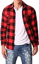 MODCHOK Men's Casual Plaid Flannel Shirt Long Sleeve Outwear Slim Fit Button-Down Check Tops