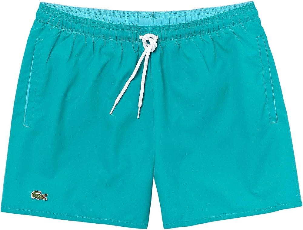 Lacoste, costume a  pantaloncini da uomo, 100% poliestere ad asciugatura rapida, acquamarina MH62703