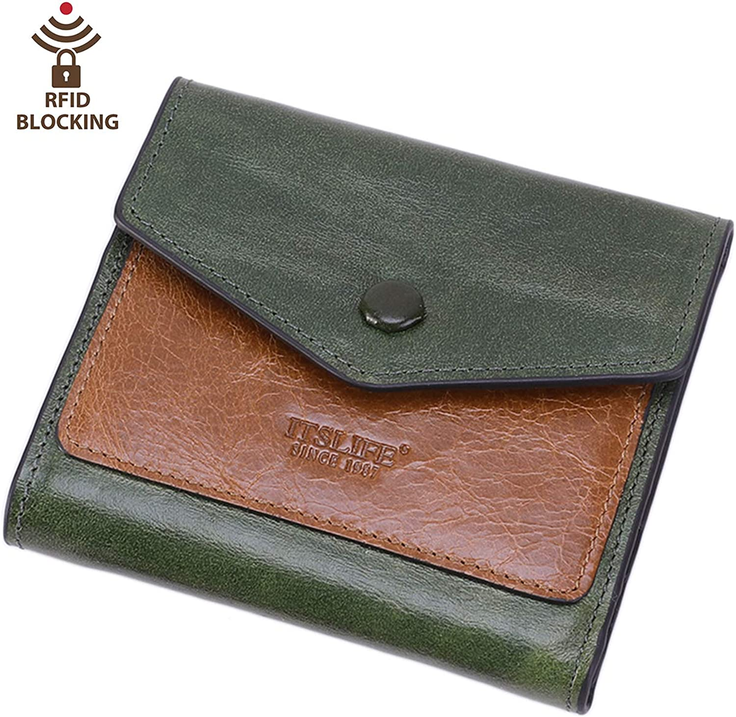 Women's Small Leather Wallet RFID Card Holder Mini Bifold Ladies Flat Pocket Purse