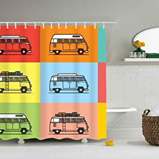 LiviAbby Shower Curtain Vw Camper Vector Print Mom Gift Ideas Polyester Fabric Hooks Included 72 x 79