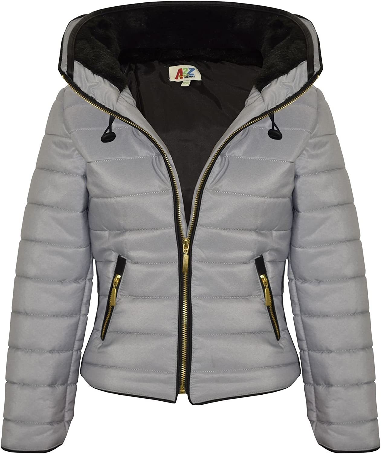 A2Z 4 Kids/® Girls Jacket Kids Stylish Padded Silver Puffer Bubble Faux Fur Collar Quilted Warm Thick Coat Jackets Age 3 4 5 6 7 8 9 10 11 12 13 Years