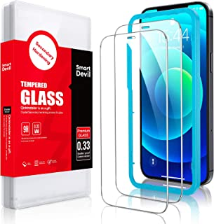 SmartDevil 2 Pack Screen Protector for iPhone 12/12 Pro 6.1 Inch Tempered Glass Screen Protector Anti-Scratch with Alignme...