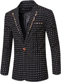Tootless Men's Trim-Fit Floral Polka Dot Suit Coat Jacket Blazer Outwear