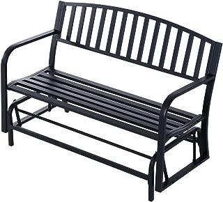 wrought iron black patio double glider