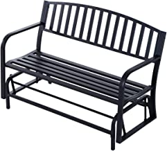 """Outsunny 50"""" Outdoor Patio Swing Glider Bench Chair - Black"""