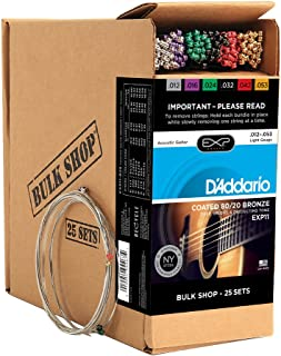 D'Addario EXP11 Coated Acoustic Guitar Strings, 80/20, Light, 12-53, 25 Sets