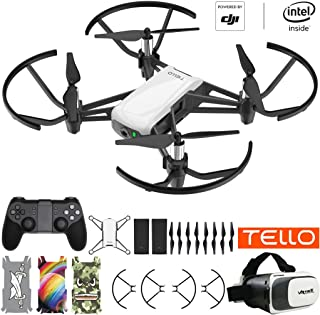 DJI Tello Quadcopter Beginner Drone Powered Technology VR HD Video Premium Package with Extra Battery Remote Controller VR Goggles and Skin Pack