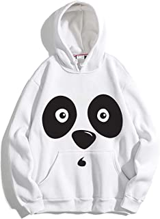 The SV Style Unisex White Hoodie with Black Print: Panda/Printed White Hoodie/Graphic Printed Hoodie/Hoodie for Men & Women/Warm Hoodie/Unisex Hoodie