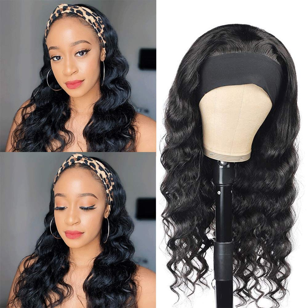Human Hair Headband Wgis Loose Black For Large-scale latest sale Wo Deep Wigs