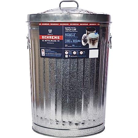 "Behrens Garbage Lid-20 gal. (23"" H x 17"" Dia.) Galvanized Steel Trash Can, 20 gallon, Silver"
