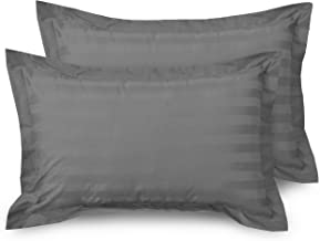 HUESLAND by Ahmedabad Cotton Luxurious Striped 2 Piece Cotton Pillow Case Set - 18 inch x 27 inch, Grey
