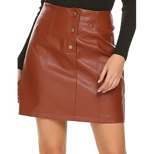 d342f8be7f Mofavor Women's Faux Leather Skirts High Waist Button Front A Line Short  Mini Skirt