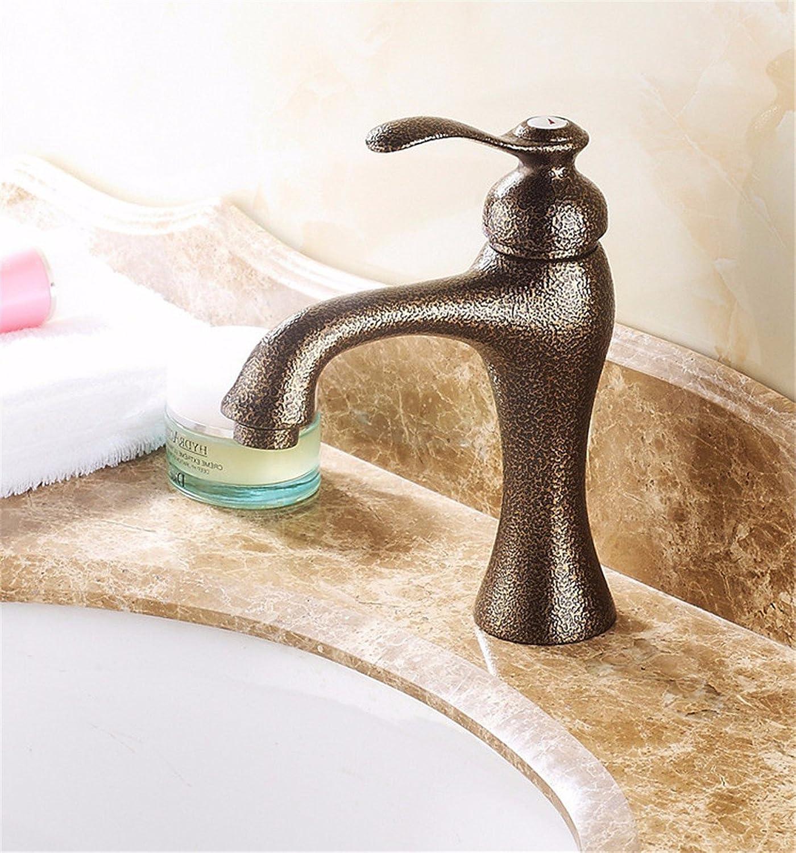 Bijjaladeva Antique Bathroom Sink Vessel Faucet Basin Mixer Tap Cold Water ceramic valve single hole single handle bathroom basin mixer