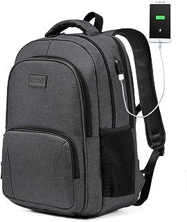 VASCHY Laptop Rucksack, VASCHY Wasserabweisend Schulrucksack für 15,6 Zoll Laptop Großer Rucksack für Herren Damen Reise Hochschule Studenten mit USB Ladeanschluss Dunkelgrau