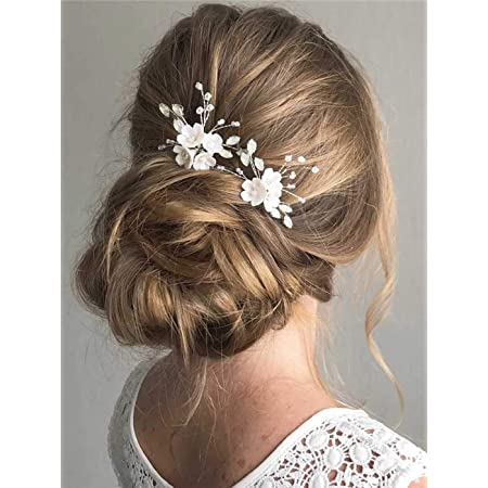 Bridal hair pins Rose gold wedding hair pin Bridal hair jewelry with pearls cristals and leaves Daphn\u00e9