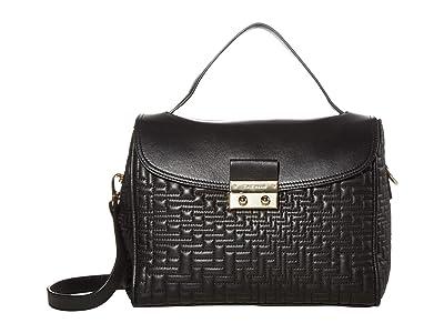 Cole Haan Lock Quilted Satchel (Black) Handbags