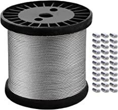 1/16 Inch Wire Rope, Stainless Steel Cable, 328ft Aircraft Cable with 150 Pcs Crimping Loop Sleeve, 368 lbs Breaking Strength, 7x7 Strand Core, Braided Wire Cable for String Lights, Clothesline