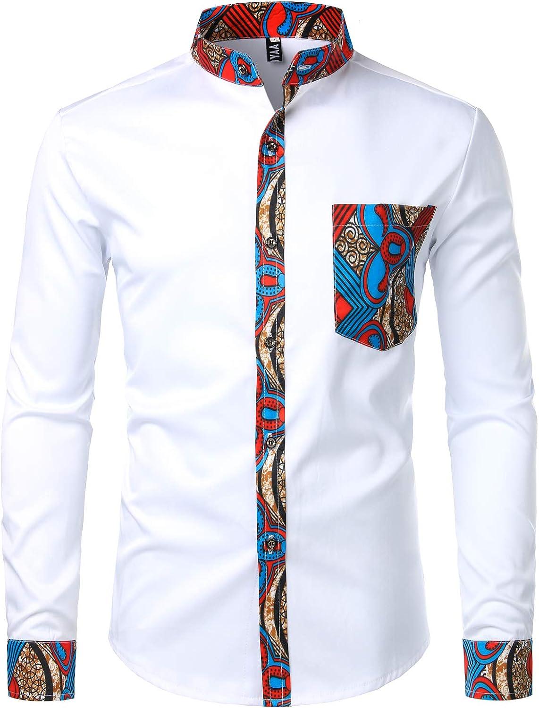 ZEROYAA Men's Hipster Patchwork Design Slim Fit Long Sleeve Button up Mandarin Collar Shirts