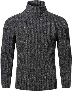 IFOUNDYOU Mens Sweatshirt Man Autumn Winter Pure Colour Warm Basic Shirts Casual Turtle Neck Pullover Jumper Slim Knitwear...