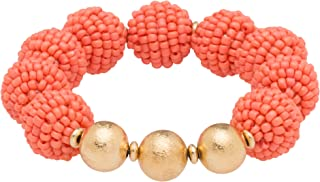 Occasionally Made Seed Bead Ball Stretch Bracelet Photo Print Coral