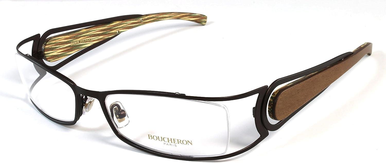 Boucheron Unisex Rectangular Rounded Eyeglasses Silver Wood