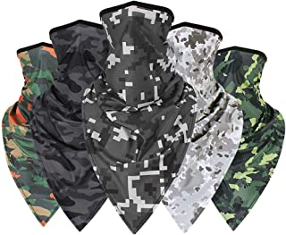 MITCOWBOYS 5PCS Novelty Facing Covering, Headbands for Women, Bandanas for Men, Outdoor UV Protection Neck Gaiter