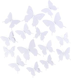 3D Butterflies - 36-Pack Blank Butterfly Mural, Craft Butterfly Decorations, Perfect DIY Wall Decoration for Home, Nursery and Girls Bedroom, White, 3 Assorted Sizes