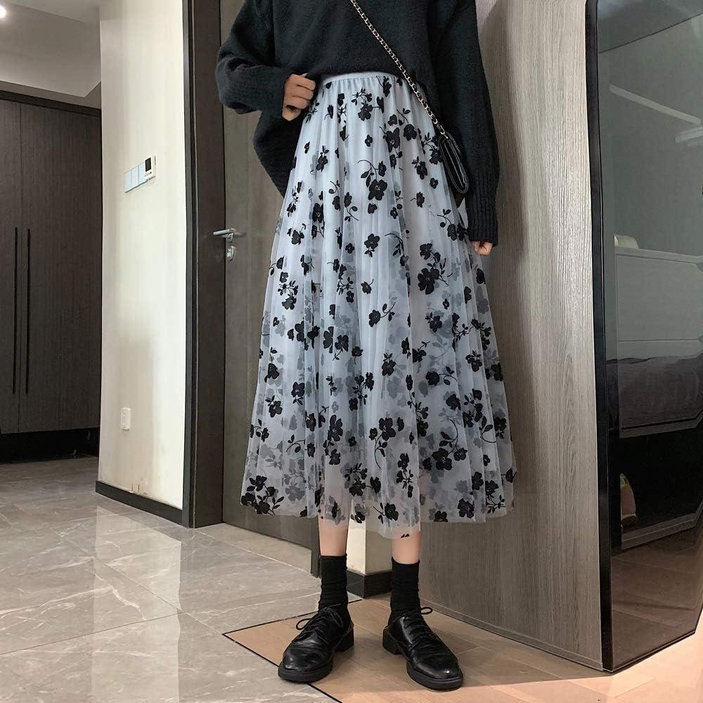 SPNEC Women Floral Tulle Mesh Skirts Spring Elastic High Waist Flower Print Overlay Layered A Line Midi Skirt Female Clothes