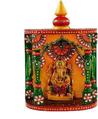 Ecraftindia Papier-Mache Kundan Mandir With Ganesha, Set of 2