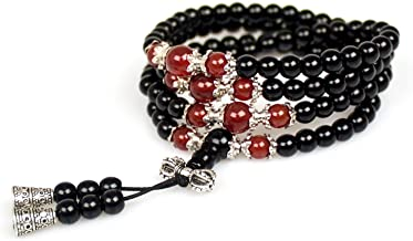 Jewelry,6MM Black Obsidian Healing 108 Buddhist Prayer Mala Beads Tiger Eye Gemstone Bracelet Necklace