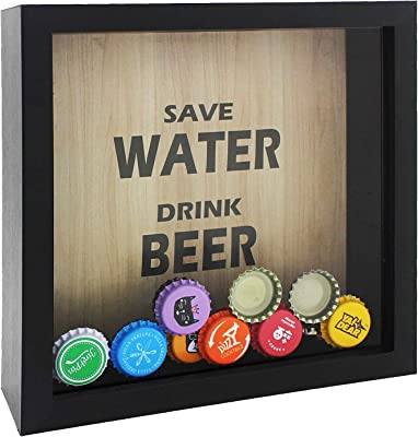 Space Art Deco 8x8 Shadow Box Display Case– Square Top Loading Wood Frame - Showcase Bottle/Beer Cap Collector/Holder,Wall Mounting(Black)