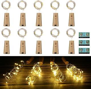 Vicloon Luz de Botella,2m 20LEDs Lámparas de Botellas con Pilas Flexible de Alambre de Cobre,LED Corcho Micro Luces para Carnaval,Decoración de Boda,DIY Fiesta,Celebración - 12PCS,Blanco Cálido