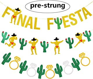 3PCS Gold Glittery Final Fiesta Banner, Glittery Cactus Man Garland, Glittery Cactus Bridal Ring Garland for Bachelorette Bridal Shower Mexican Fiesta Cabo Party Decorations