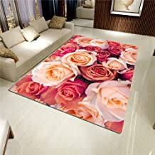 LHGBGBLN 3D Printing Carpet Rose Flower Wall Bedroom Living Room Non-Slip mat Corridor Floor mat Door mat Flower Carpet Ho...