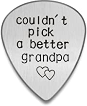 Personalized Guitar pick I couldn`t pick a better man Custom Plectrum Engraved Guitar Pick Gift for Music lover Stainless Steel Custom Tag (Grandpa, Silver)