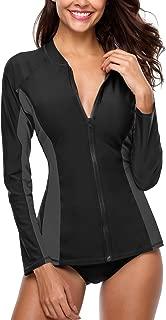 Women's Zip Front Long Sleeve Rashguard Top UV Sun Protection Swim Shirt