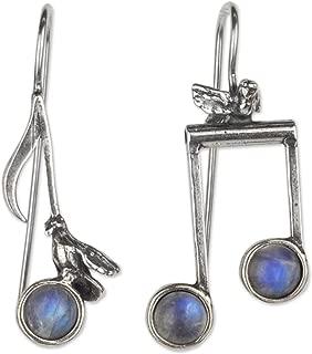 Moonstone .925 Sterling Silver Musical Note Themed Drop Earrings, Blue Bird Songs'
