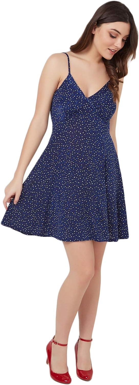 COLORI ANDY Puff print confetti v neck aline dress, womens