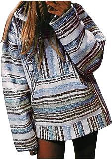 HOTHONG Weatshirt Femme Pull Rayé Christmas Sweat Pullover T-Shirt Tunique Haut à Manches Longues Sweater Pull-Over De Noë...