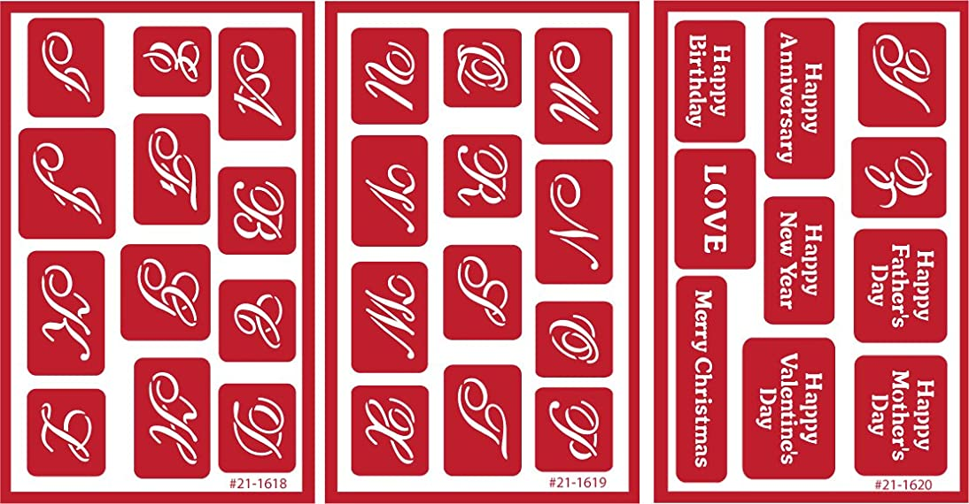 Armour Etch Over N Over Stencil, 7/8-Inch High Alphabet, 3 Pages