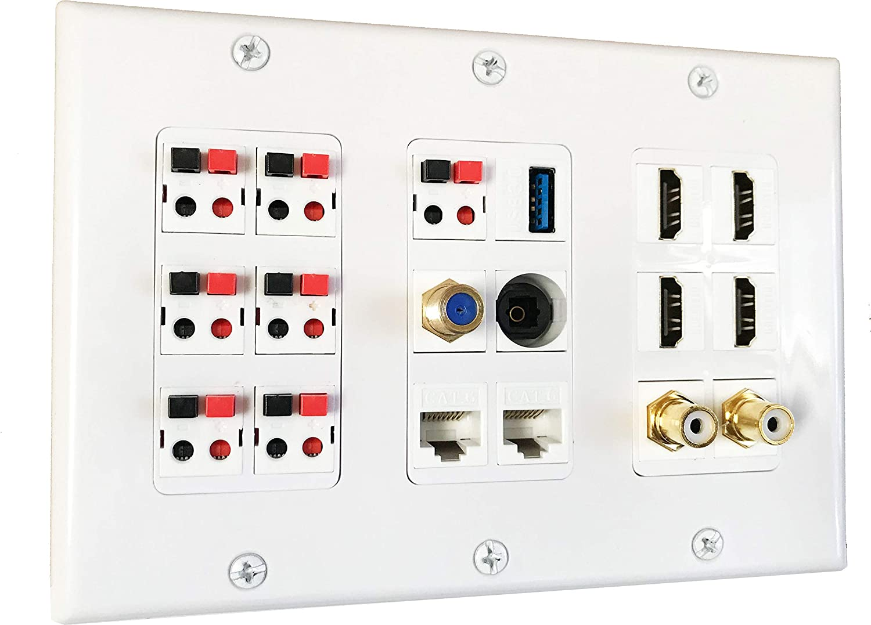 diyTech Premium Speaker Wall Plate 7 4 2 Many popular brands Sub HDMI Cheap SALE Start RCA