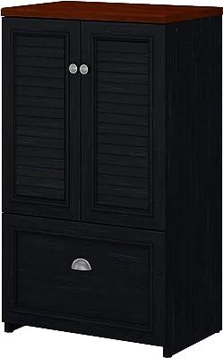 Bush Furniture Storage Cabinet with File Drawer, Black