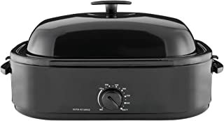 Mainstays 20-Pound Turkey Roaster with High-Dome Lid, 14-Quart, Black by Mainstay