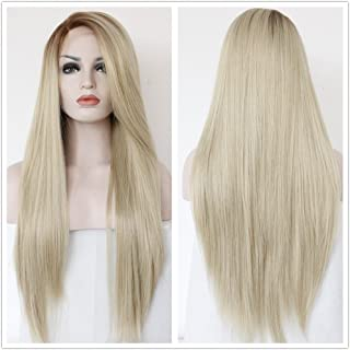 Sapphirewigs Silky Soft Brown Roots Ombre Light Blonde Color Beauty Blogger Daily Makeup Wedding Hair 24'' Long Synthetic Lace Front Wigs (Ombre Blonde)