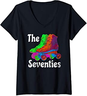 Womens The Seventies Vintage Roller Skating Retro Rollers 70's 80's V-Neck T-Shirt