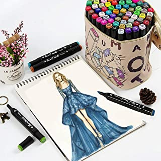 Litchitree 30 Colours Graphic Drawing Painting Alcohol Dual Tip Art Marker Pens, Extra Gift With Colourless Blender Marke...