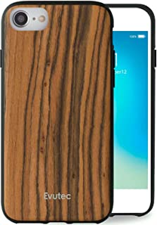 Evutec Case Compatible with iPhone 6/6s/7/8, AER Series Real Wood Thin Slim Protective Phone Case Cover Burmese Rosewood (AIFX+ Vent Mount Included)